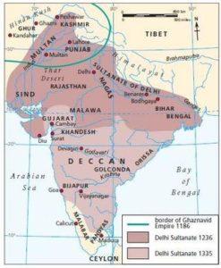 Carte du sultanant de Delhi